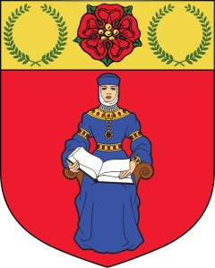 Coat of Arms of the Royal Ruritanian Society. The lady is a depiction of St. Osra, the Patron Saint of Ruritania.
